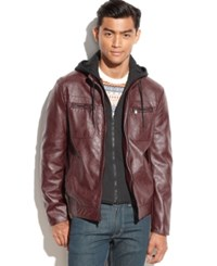 Kenneth Cole Hooded Knit Bib Faux Leather Jacket Burgundy