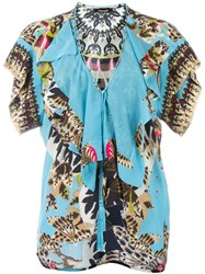 Roberto Cavalli 'Day Dream' Ruffle Trim Blouse Multicolour