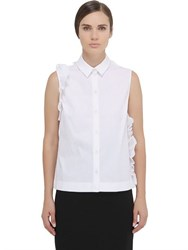Simone Rocha Sleeveless Ruffled Cotton Poplin Shirt