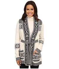 Pendleton Lodge Stripe Cardigan Ivory Heather Charcoal Heather Women's Sweater Beige