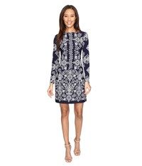 Vince Camuto Ity Long Sleeve T Body Dress Navy Ivory Women's Dress Blue
