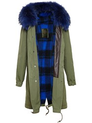 Marc By Marc Jacobs Long Cotton Canvas Parka With Raccoon Fur Hood Green