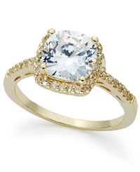 B. Brilliant 18K Gold Over Sterling Silver Ring Cushion Cut Cubic Zirconia Ring 3 1 3 Ct. T.W.