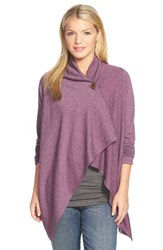 Bobeau Women's One Button Fleece Wrap Cardigan Heather Purple Dark