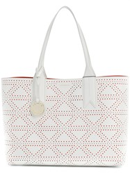 Emporio Armani Embossed Tote Bag White