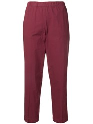 Kiltie Cropped Straight Leg Trousers Red