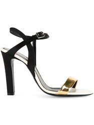 Lanvin Gold Strap Heeled Sandals Black