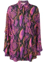 House Of Holland Snakeskin Print Flared Shirt Pink
