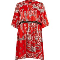 River Island Womens Red Paisley Print Swing Dress