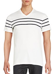 Saks Fifth Avenue Black Pima Cotton Striped T Shirt White Navy