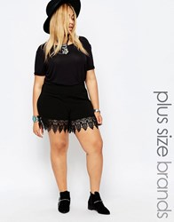 Junarose Lace Trim Shorts Black