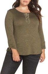 Wit And Wisdom Plus Size Knit Top Ash Green