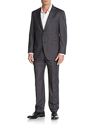 Saks Fifth Avenue Modern Fit Tonal Pinstriped Wool Suit Dark Grey