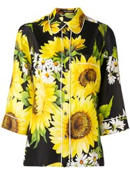 Dolce And Gabbana Sunflower Print Shirt Women Silk 40 Black