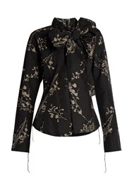 Marc Jacobs Decorative Pussybow Floral Print Taffeta Blouse Black Multi