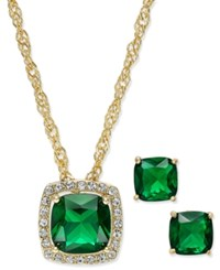 Charter Club Gold Tone Green Stone Pendant Necklace And Stud Earrings Set Only At Macy's