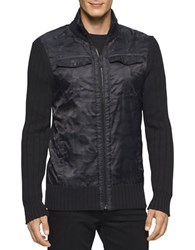 Calvin Klein Jeans Cargo Full Zip Cotton Sweater Black