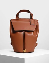 Charles And Keith Classic Drawstring Backpack Cognac