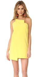 Michelle Mason One Shoulder Shift Dress Lemon