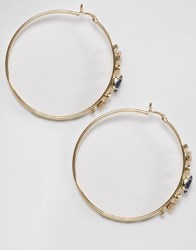Johnny Loves Rosie Aria Navy Jewel Hoop Earrings Navy Gold