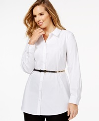 Inc International Concepts Plus Size Long Sleeve Belted Tunic Shirt Only At Macy's Bright White