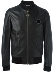 Philipp Plein Leather Bomber Jacket Black