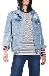 Topshop Women's Studded Distressed Denim Jacket