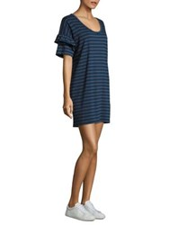 Current Elliott The Ruffle Roadie T Shirt Dress Blue Wing Teal Split Stripe
