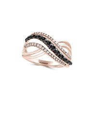 Effy Caviar Diamond Black Diamond And 14K Rose Gold Ring