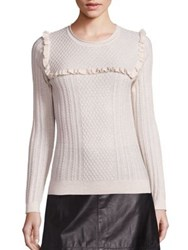 Joie Flor Wool And Silk Mini Ruffle Cable Knit Sweater Heather Cream