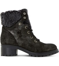 Dune Rochelle Leather Ankle Boots Grey Metallic