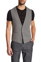 John Varvatos Gray Woven Three Button Linen Vest