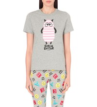 Mini Cream Stripy Animal Cotton Jersey T Shirt Grey