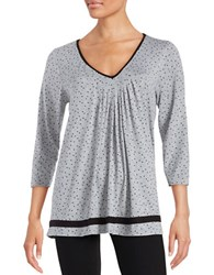 Ellen Tracy Pleated Sleep Top Grey Heather Dot