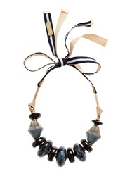 Max Mara Pavento Large Beaded Ribbon Tie Necklace Midnight Blue