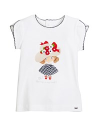 Mayoral Scalloped Trim Girl Print T Shirt Size 12 36 Months Blue