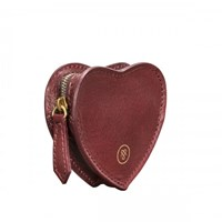 Maxwell Scott Bags Wine Leather Heart Shaped Coin Purse