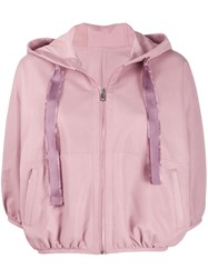 Red Valentino Hooded Cropped Jacket Pink