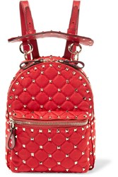 Valentino Garavani The Rockstud Spike Leather Trimmed Quilted Satin Twill Backpack Red Gbp