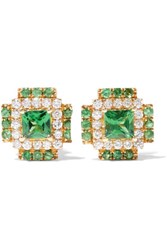 Khai Khai Aztec 18 Karat Gold Diamond Earrings Emerald