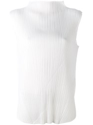 Issey Miyake Pleats Please By Pleated High Neck Blouse Women Polyester 4 White