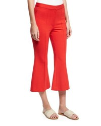 Tibi Tailored Ponte Flare Leg Cropped Pants Red