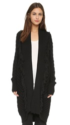 Tess Giberson Chunky Cable And Fringe Cardigan Black