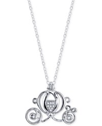 Disney Diamond Accent Cinderella Pendant Necklace In Sterling Silver