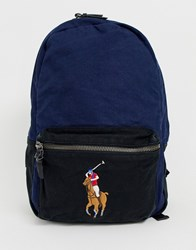 Polo Ralph Lauren Canvas Backpack With Multi Player And Contrast Panels In Navy