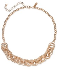 Inc International Concepts I.N.C. Rose Gold Tone Multi Ring Statement Necklace 18 3 Extender Created For Macy's