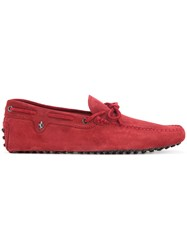 Tod's Classic Flat Loafers Men Calf Suede 7 Red
