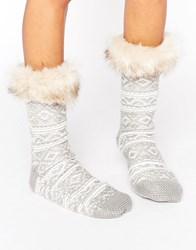 Asos Fairisle Slipper Sock With Faux Fur Topper Grey