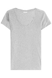 American Vintage Cotton T Shirt With Scooped Neckline Grey