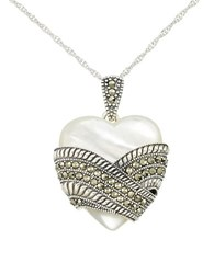 Lord And Taylor Mother Of Pearl Heart Pendant Necklace